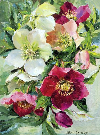 Midwinter Bouquet - Flower Art Christmas Card by Anne Cotterill