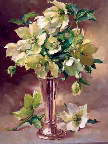 Hellebores with Silver - Christmas Card by Anne Cotterill