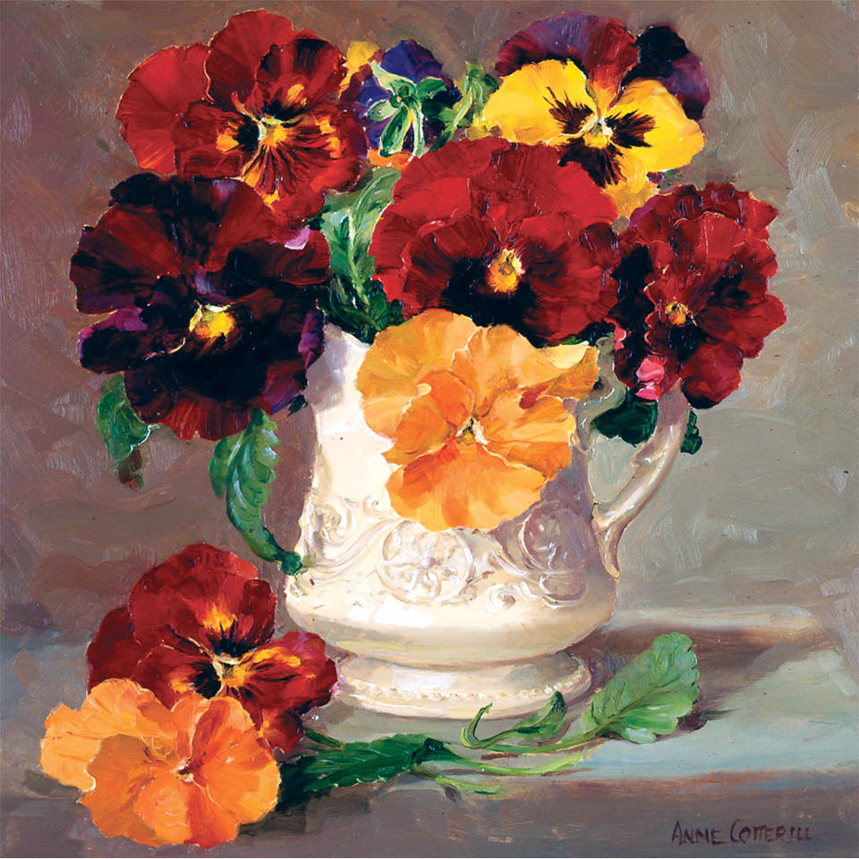 Pansies in a Cream Jug - Birthday card by Anne Cotterill Flower Art