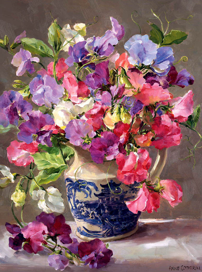 Sweet Peas in a Blue and White Jug - Birthday Card by Anne Cotterill