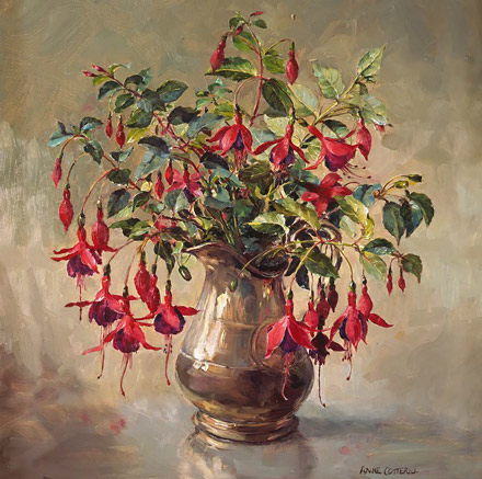 Fuchsias in Silver - flower card by Anne Cotterill