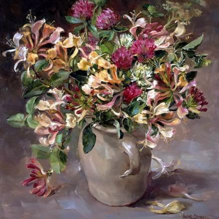 Clover and Honeysuckle - by Anne Cotterill Flower Art