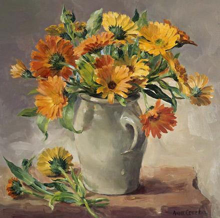 Marigolds in a Stone Jar - blank card