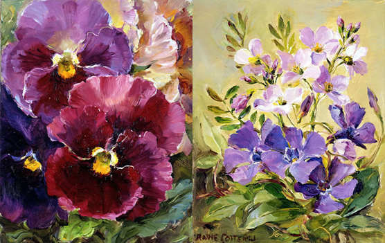 Pansies / Periwinkles notecard by Anne Cotterill Flower Art