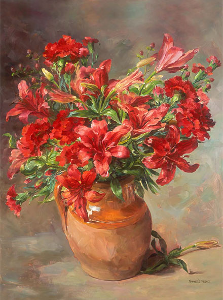 Lilies - Blank Greetings Card by Anne Cotterill