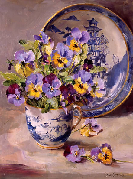 Pansies with Willow Pattern Plate - Birthday Card by Anne Cotterill