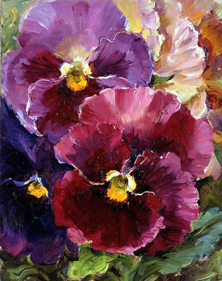 Small note card 'Pansies' by Anne Cotterill Flower Art Cards