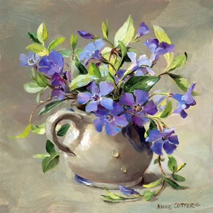 Periwinkles - Birthday Card by Anne Cotterill Flower Art