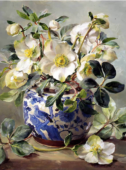 White Hellebores in a Chinese Vase - blank card by Anne Cotterill