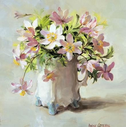 Wood Anemones - Blank Card by Anne Cotterill Flower Art