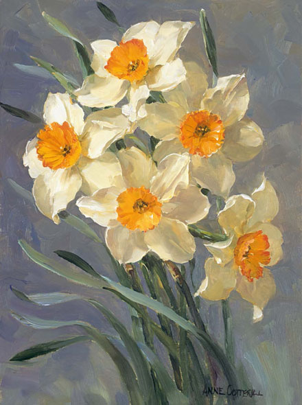 White Narcissi - Flower Greetings Card by Anne Cotterill