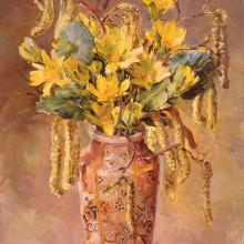 Celandines with Catkins greetings card by Anne Cotterill