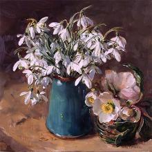 Snowdrops with Christmas Roses - blank card by Anne Cotterill