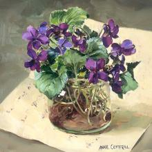 Purple Violets in a Glass Jar - greeting card by Anne Cotterll