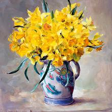 Daffodils in Honiton Pottery - blank card by Anne Cotterill