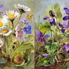 Daisies and Violets note cards by Anne Cotterill FLower Art