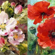 Apple Blossom / Poppies note cards by Anne Cotterill Flower Art