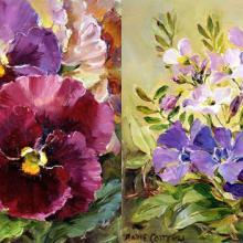 Pansies / Periwinkles notecard by Anne Cotterill Flower Art
