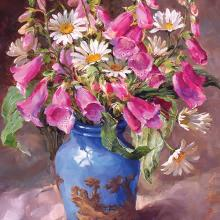 Foxgloves and Daisies - Blank or Birthday Card by Anne Cotterill Flower Art