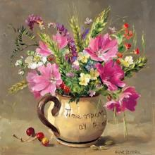 Musk Mallows and Harvest-Time Flowers - Birthday Card by Anne Cotterill Flower Art