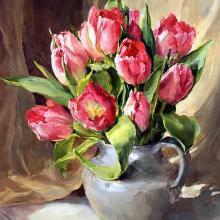 Pink Tulips - Blank or Birthday Card by Anne Cotterill Flower Art