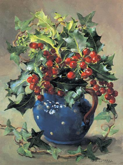 Holly and Ivy Christmas Card by Anne Cotterill