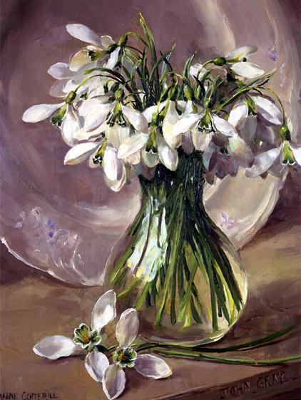 John Gray Snowdrops - Christmas Card by Anne Cotterill