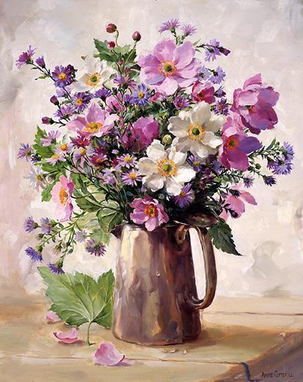Japanese Anemones in a Silver Jug - Birthday Card by Anne Cotterill