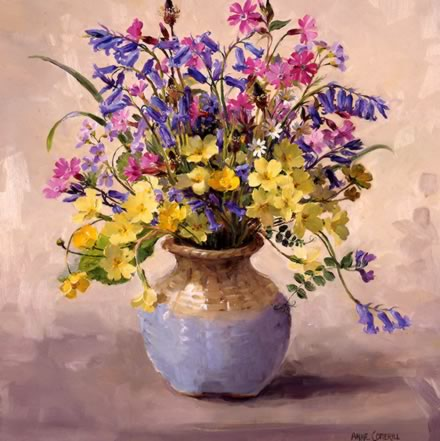 Bluebells and Campion card by Anne Cotterill Flower Art