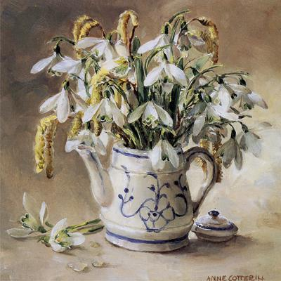 Snowdrops in the Doll's Coffee Pot Christmas Card