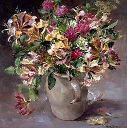 Clover and Honeysuckle greetings card by Anne Cotterill