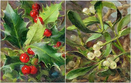 Holly / Mistletoe - Pack of 6 Christmas cards