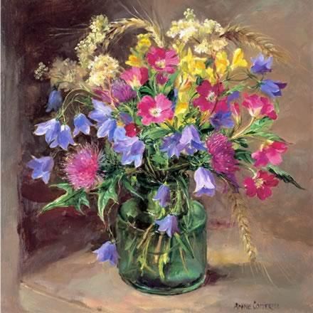 Flowers from the Hedgerow - Birthday Card by Anne Cotterill Flower Art