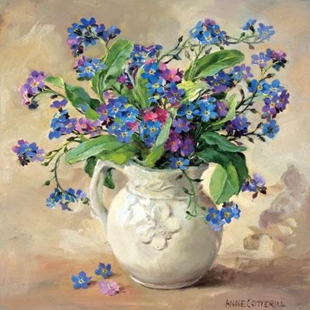 Forget-me-nots - Birthday Greetings Card by Anne Cotterill Flower Art
