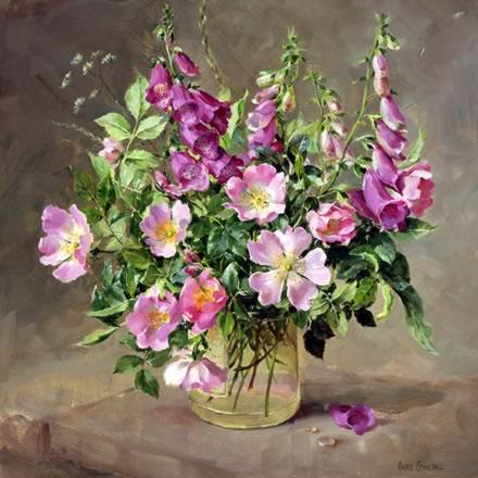 Foxgloves and Wild Roses - Birthday Card by Anne Cotterill Flower Art