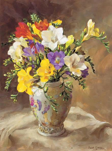Freesias in a Chinese Vase Birthday Card by Anne Cotterill