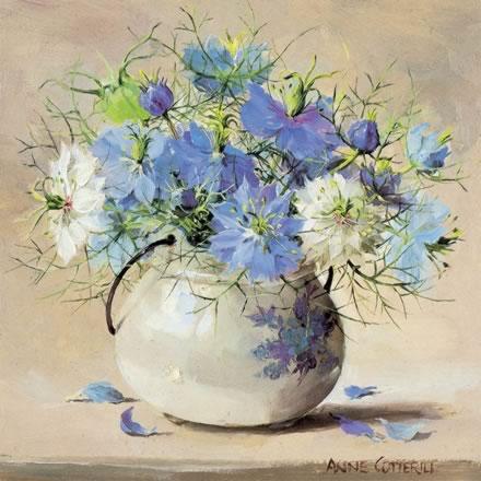 Love-in-a-Mist - Blank Card by Anne Cotterill Flower Art