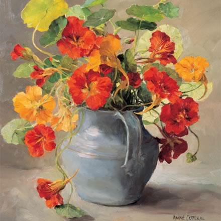 Nasturtiums - Blank Card by Anne Cotterill Flower Art