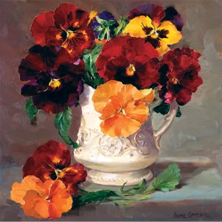 Pansies an a Cream Jug - Blank card by Anne Cotterill Flower art