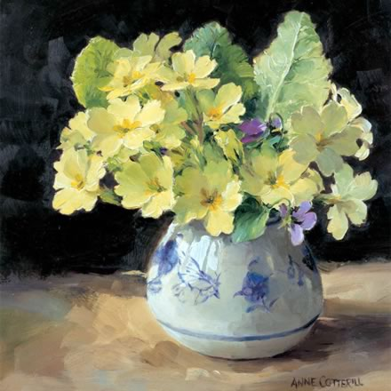 Primroses with Violet - Blank Greetings Card by Anne Cotterill Flower Art