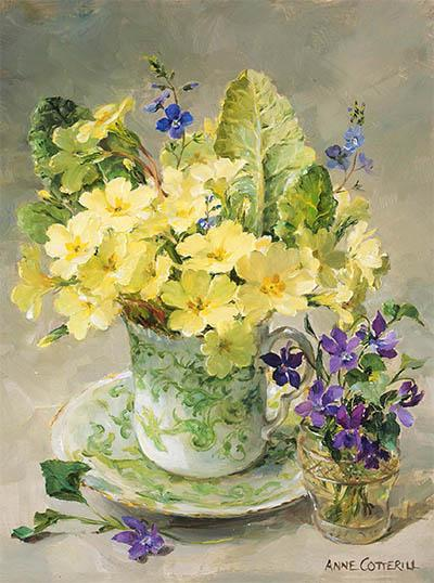 Primroses with Posy of Violets - blank greetings card by Anne Cotterill