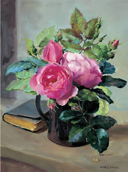 Still Life with Opening Roses - Birthday Card - Anne Cotterill