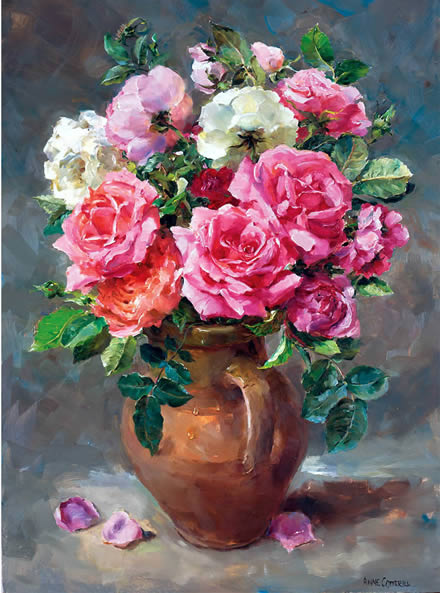 Roses in a Stoneware Jug -  Blank or Birthday Card by Anne Cotterill