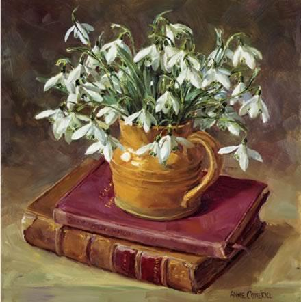 Snowdrops with Books - Birthday Card by Anne Cotterill Flower Art