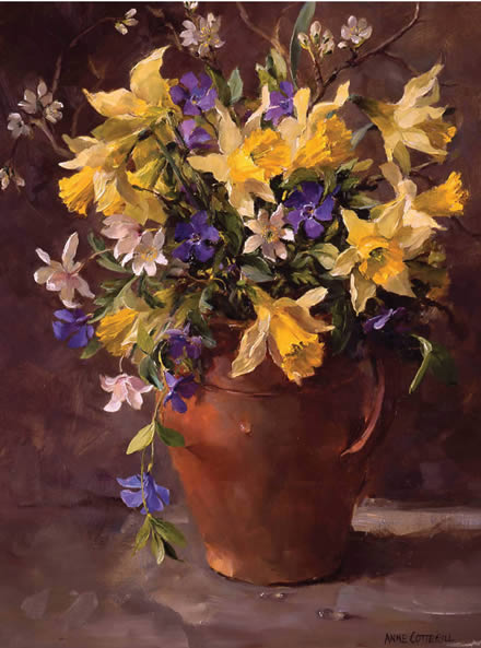 Wild Daffodils and Periwinkles - Blank/Birthday Card by Anne Cotterill Flower Art