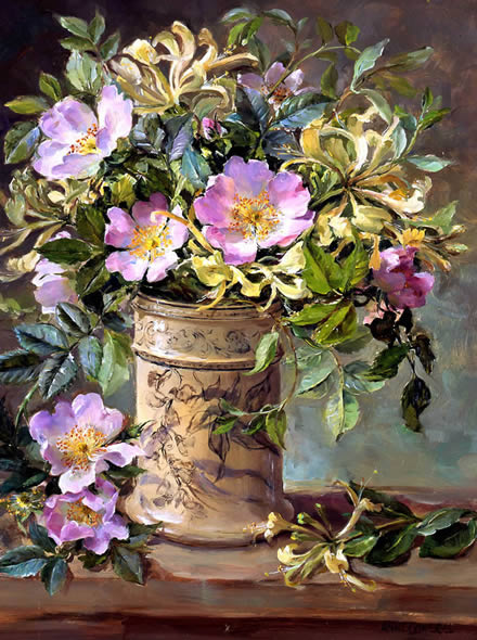 Wild Roses and Honeysuckle greetings card by Anne Cotterill