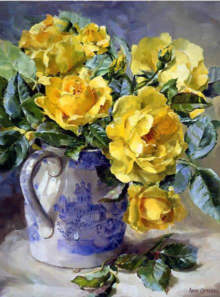 Yellow Roses - Birthday Card by Anne Cotterill
