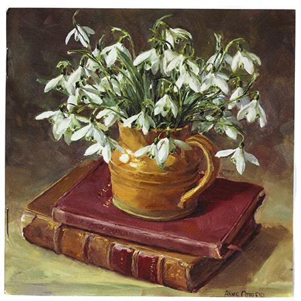Notebook Snowdrops with Books - By Anne Cotterill Flower Art