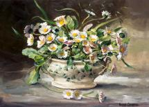 Dish of Daisies - flower art card by Anne Cotterill