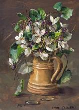 Wild White Violets - flower card by Anne Cotterill